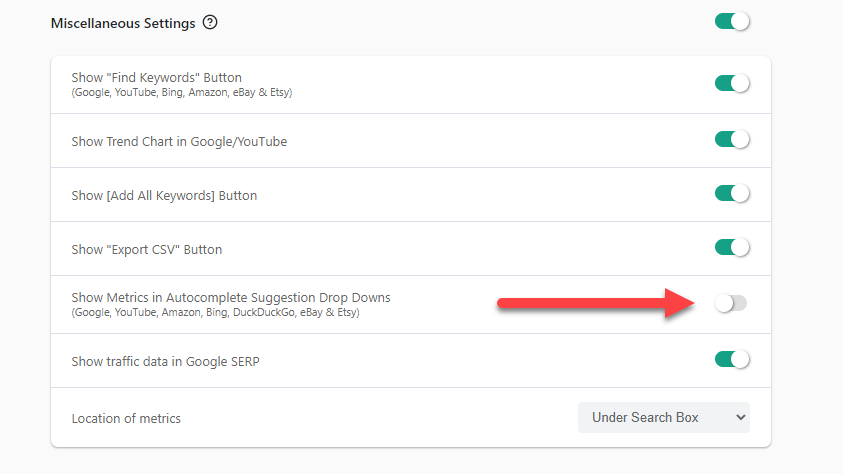 Disable Search widgets