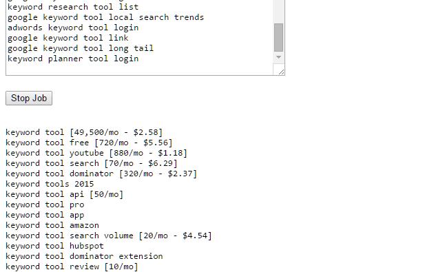 Keyword Shitter - Search volume & CPC for KeywordShitter com Tool