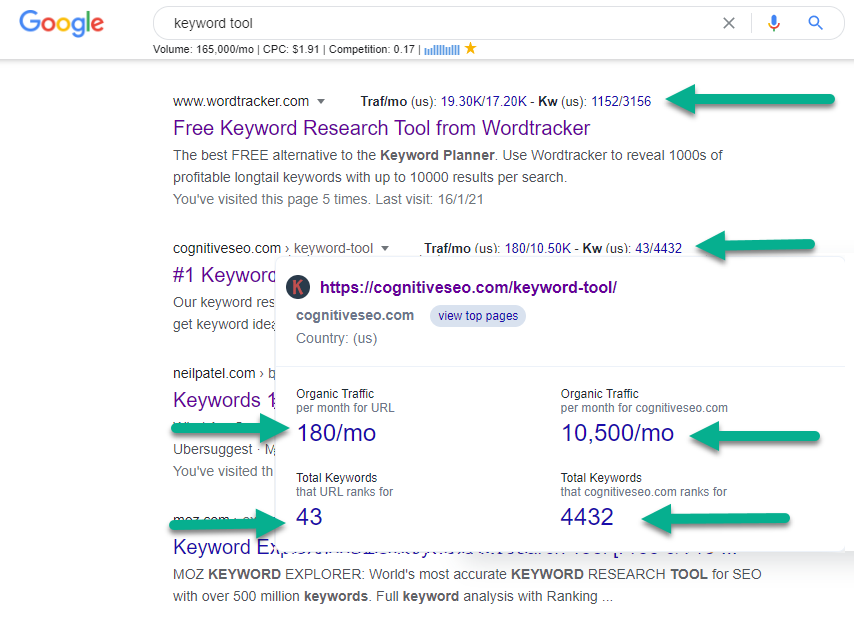Organic Traffic metrics shown directly in Google SERP